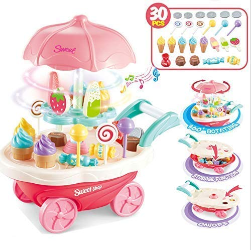 SR Toys Sweet Shopping Battery Operated Ice Cream Trolley Set for Kids with LED Lights and Music (Plastic,Multicolor) -Pack of 30 Piece