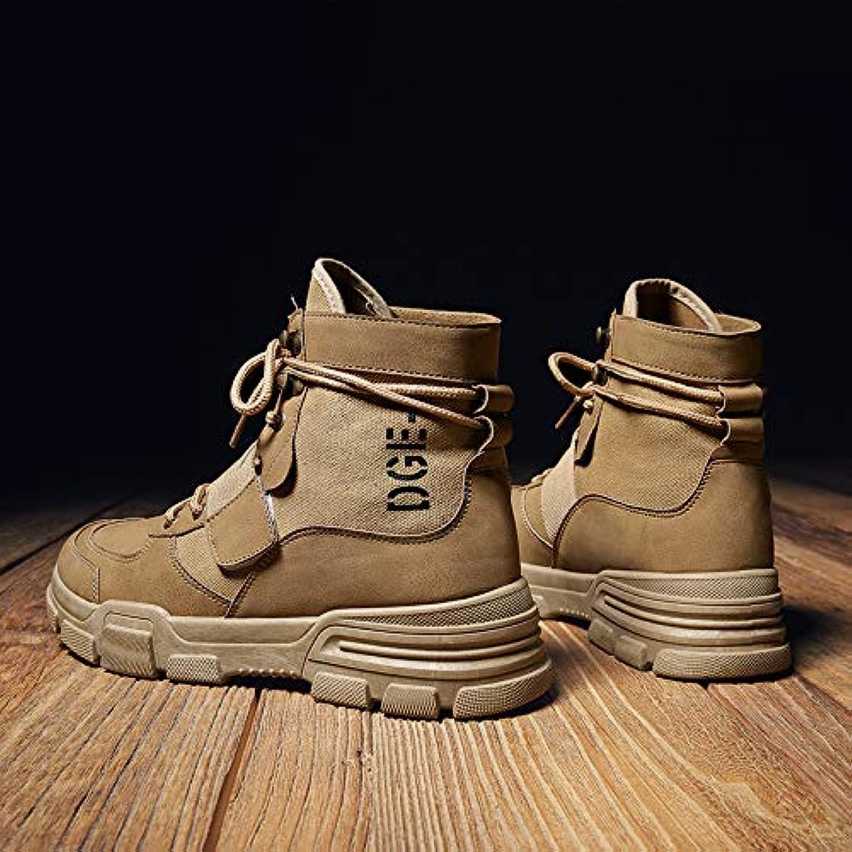 Shukun Men's boots Autumn Martin Boots Men In The Tooling Boots Casual Retro Yellow Desert Boots Men High Help