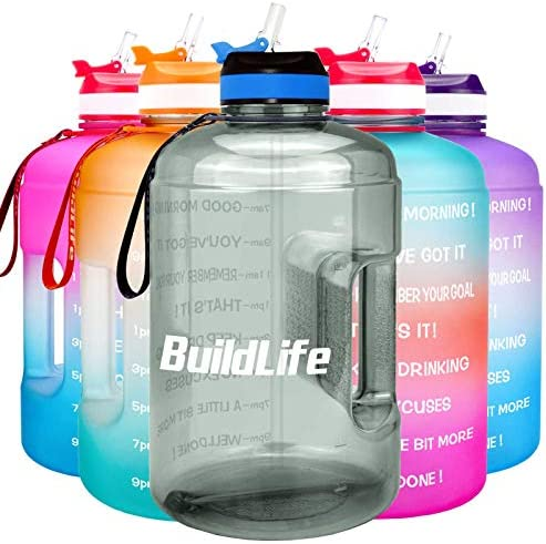 BuildLife Gallon Motivational Water Bottle with Time Marked to Drink More Daily BPA Free Reusable product image