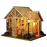 IV2 Chambre Fleurie Miniature Maison Poupee Modèle D'architecture Bricolage Mini Modèle de Maison avec Meubles en Bois/Lumière LED