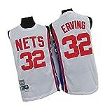 メンズバスケットボールジャージー#32 Dr.J Erving刺繡ジャージー、メッシュベストプレーヤーTシャツ、通気性と速乾性のサポーターズ機器 White-M