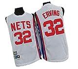 LZZQMR Mens de Baloncesto Jersey Nets # 32 DR.J Erving BORDING Jersey, Brooklyn Mesh COMPLET Player tee, Equipo DE Padres DE SECURIDAD White-XL