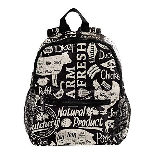 Mochila Escolar Cerdo Pollo Ganso Mochila para Niños 3-8 Años Infantil Guarderia Backpack 25.4x10x30 CM