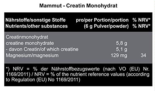 Mammut Creatin Monohydrat, magnesiumoptimiert, 300 g Dose - 4