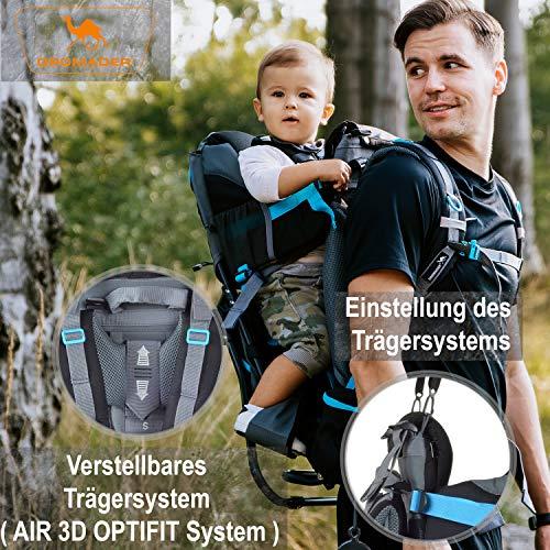 DROMADER Kindertrage | Kinderkraxe für den Tagesausflug | Tragerucksack | Kraxe zum Wandern mit Babys | Babytrage Rucksack | Rückentrage | Baby-Carrier Numbat grau blau