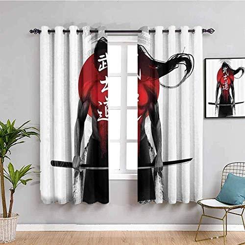 Nileco Cortinas de Opacas - Figura samurai espada patrón - 183x160 cm - 3D Impresión Digital con Ojales Aislamiento Térmico - para Sala Cuarto Comedor Salon Cocina Habitación