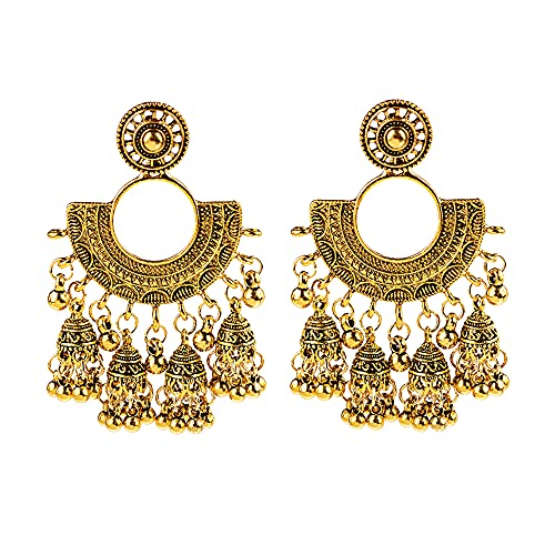 Pendientes colgantes estilo retro étnico, estilo antiguo, estilo gitano, con forma de campana, estilo bohemio, largos para mujeres y niñas, Zinc, Sin gemas.,