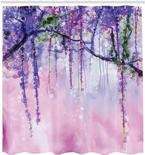 Glyzinien Blumen Baum verschwommen Design Polyester Stoff Bad Duschvorhang Marine Flieder Aubergine Blau Violett 180Cmx180Cm
