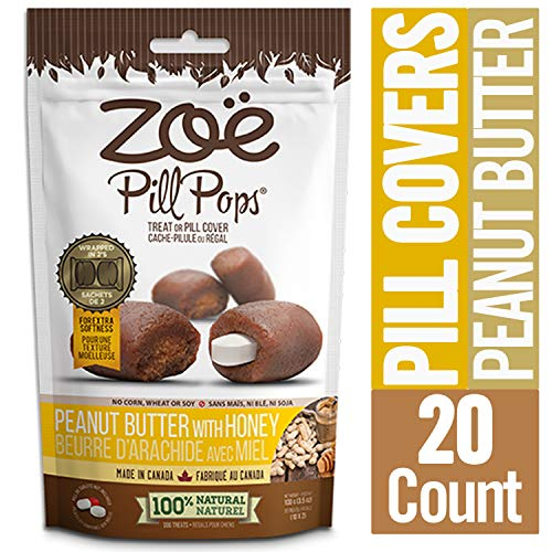 Zoe Pill Pops for Pets, Healthy All Natural Pill Pockets, Dog Treats for Giving Medication, Peanut Butter with Honey, 20 count