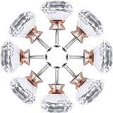 8 pezzi maniglie cristallo, manopole cristallo con vite, pomelli per mobili, pomelli per cucina, manopole a forma diamanti, per guardaroba, armadi (oro rosa)