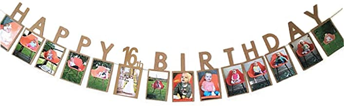 Hatcher lee Happy 16th Birthday Sweet Sixteen 16 Years Photo Banner for 16th Birthday Bunting Kraft Paper
