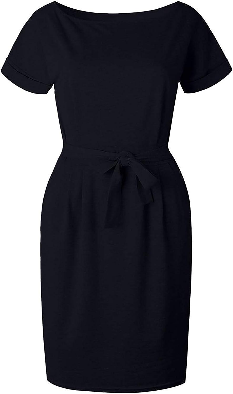 Women's Elegant Short Sleeve Wear to Work Casual Pencil Dress with Belt Crewneck Solid Office Dress Pockets Chaofanjiancai