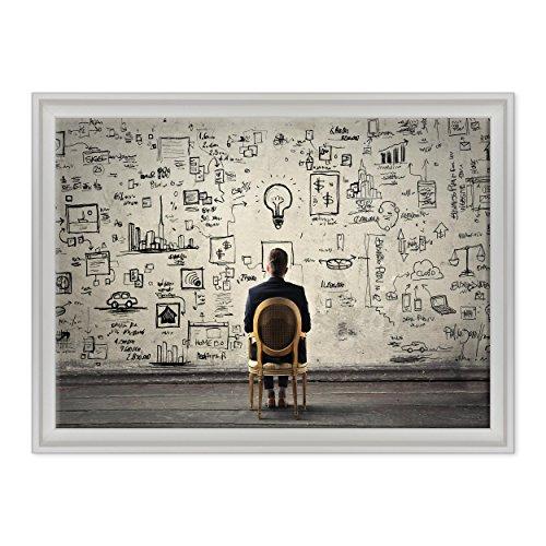 Quadro su Tela Canvas INTELAIATO - con Cornice - Motivazionale - Idee Idea Psicologia - Marketing - 50x70cm - Stile Contemporaneo Bianco - (cod.2242)