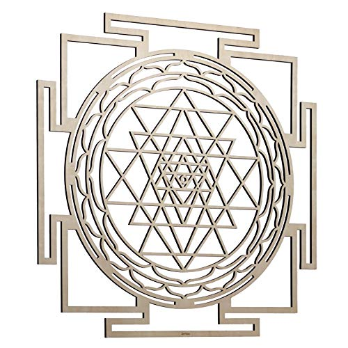 "ZenVizion 25"" Sri Yantra Wall Art Mandala, Sacred Geometry Home Decor, Meditation Symbol, Yoga Hanging Artwork, Laser Cut Wooden Wall Sculpture, Wealth, Prosperity, Abundance, Gift"