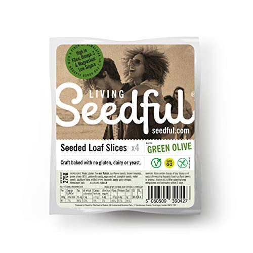 7 x 275g SEEDFUL Loaf Slices with Olives ( 4 Slices Each ), Wellbeing, Lifestyle, Gluten Free, Wheat Free, Vegan, Vegetarian, Seeded Bread, Pure Grain Loaf, Fiber, Protein, Magnesium