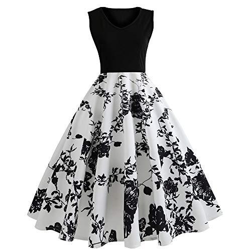 KIMODO Damen Kleid Herbst Vintage Druck Ärmelloses Abendkleid Partykleid Kleider (Schwarz, XL)