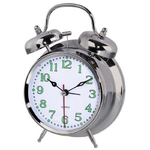 Hama analoger Nostalgie Wecker, Glockenwecker (lauter Alarm, quarzlaufwerk, selbstleuchtender Stunden- und Minutenzeiger, Hintergrundbeleuchtung) silber