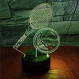 SLJZD veilleuse Raquette De Tennis Forme 3D Led Veilleuse Multicolore Pour La Décoration De La Chambre 7 Couleurs Led Atmosphère Lampe Fille Festival Cadeau Avec Télécommande