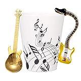 Tasse à café en céramique avec instruments de musique en forme de guitare, tasse à thé, lait, bouteille d'eau avec cuillère de guitare, cadeau pour ami, café (jaune)