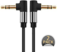 3.5mm Audio Cable,Male to Male 90 Degree [2-Pack, 1.5ft, 3.3ft] car Home Auxiliary Stereo for Smartphones, Tablets, Media Players (Black)