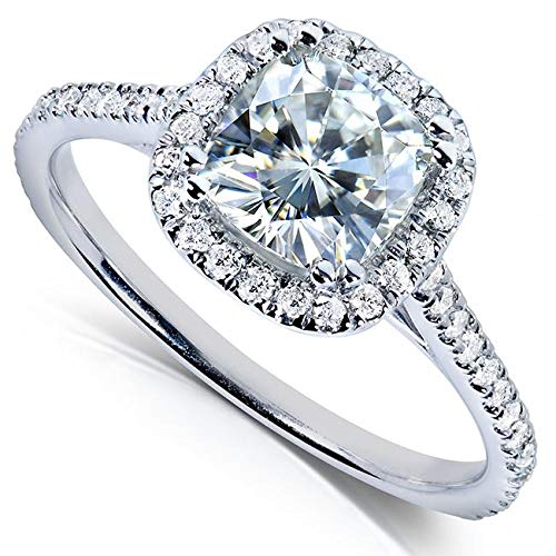 Kobelli Cushion-cut Moissanite Engagement Ring 1 1/3 CTW 14k White Gold, Size 10.5