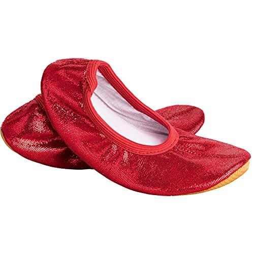 Siegertreppchen® Turnschläppchen Glitzer (Größe 35) Rot | Gymnastikschuhe für Kinder & Erwachsene | Ballettschuhe atmungsaktiv & rutschfest