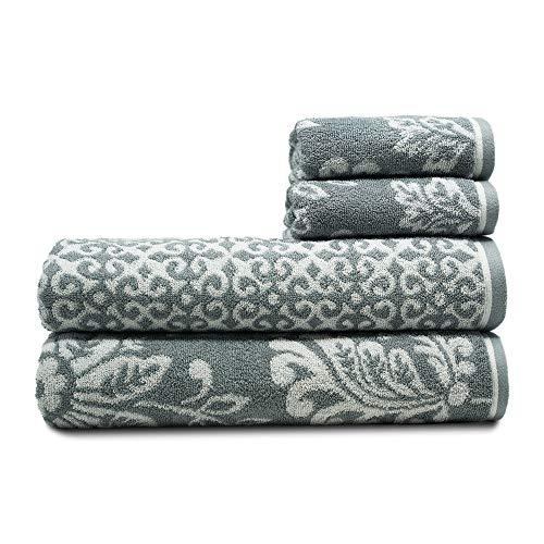 TRIDENT Fusion 100% algodón, Juego de 4 Toallas (2 Toallas de baño, 2 Toallas de Mano), 500 gsm, súper Suave, Muy Absorbente, fácil Cuidado: Todos los días, Multiusos, Piscina, Viajes (Quarry)