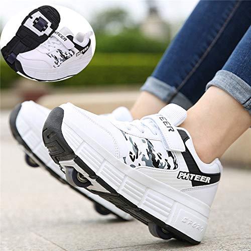 NNN Sportschuhe Skateboard Outdoor Gymnastik Turnschuhe Jungen Mädchen Freizeitschuh Schuhe Mit Rollen Drucktaste Einstellbare Skateboardschuhe Für Kinder Mädchen Junge Erwachsene,White1-37…