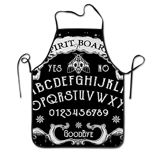 SWEET TANG 3D Print Waist Apron for Men, Durable Kitchen Bib Aprons Cat Skull Head Witch Board Black Gothic, Waterproof and Oilproof Cake Aprons Pocketless for Dishwashing Lab Work Butcher