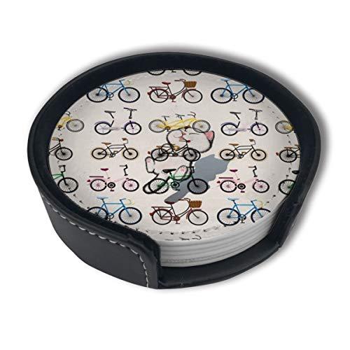 BJAMAJ Clipart Fahrrad-Untersetzer, aus hochwertigem PU-Leder, rund, mit Halterungen, geeignet für Zuhause und Küche, 6 Stück
