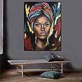 Cuadro Art Deco impresión en Lienzo Póster Lienzo Labios Rojos Mujer Negra Africana, Carteles e Impresiones, Cuadro artístico Pared para Sala estar-40X60cm