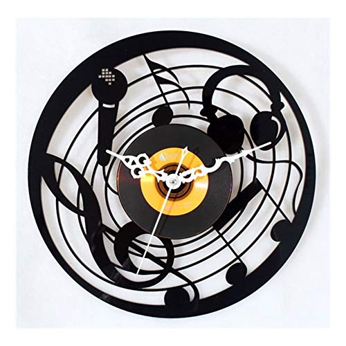ZXR2088 Creative-Vinyl CD wandklok, mode muziek microfoon design retro vintage film klok, start wandklok 12inch zwart