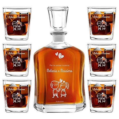 Murrano Set Decanter per Whisky in vetro - da 700 ml - incisione personalizzata - Caraffa + 6 bicchieri - idea regalo per l'anniversario per la coppia di sposi o fidanzati - Bimbo e Bimba