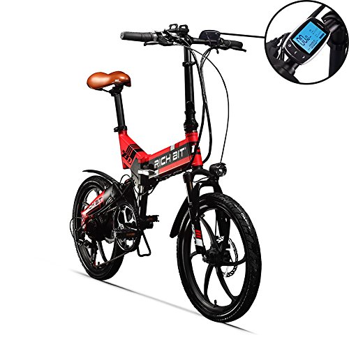RITH BIT 20 Inch Folding E-Bike, Electric Bike, 250W*8Ah Lithium Battery Red, red