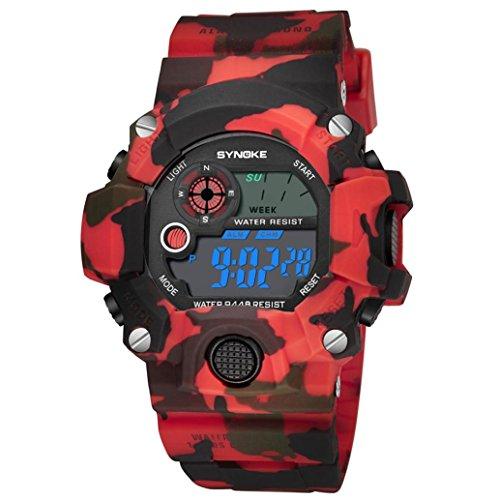 LCLrute Mode Herren Outdoor-Nachtlicht wasserdichte elektronische Uhr SYNOKE Herren Multi-Funktions-Sportuhr LED Digital Dual Movement Armbanduhr (Grau)