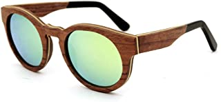 LUKEEXIN Retro Style Round Shape Handmade Wood Rimmed Sunglasses Colored Lens UV400 Protection for Men Women (Color : Green)