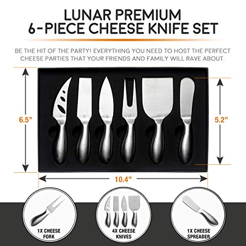 LUNAR Premium 6-Piece Cheese Knife Set - Complete Stainless Steel Cheese Knives Collection (Gift-Ready)