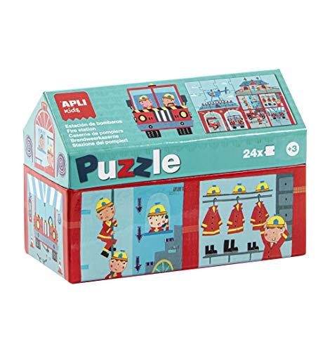 APLI Kids - Bomberos Puzle Casita, 24 Piezas, Multicolor, 17353 (Productos de oficina)