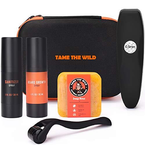 Tame's Premium Beard Growth Kit - Titanium Derma Roller with Beard Growth Serum - Beard Roller Sanitizer - Natural Exfoliating Beard Soap – Hard Top Storage Case - Best Gift for Men