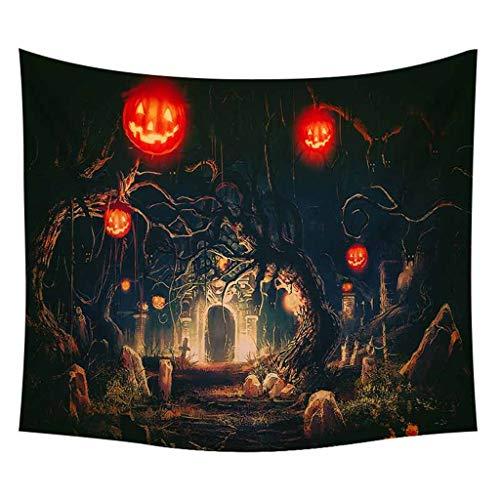 TIREOW Halloween Tapisserie 150x200cm Kürbisse Baum Druck Wandbehang Wandteppich Art Tischtuch Yoga Matte (C)