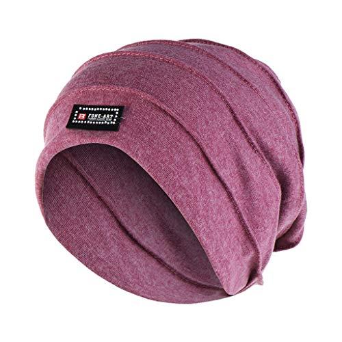 Dnliuw Frauen Einfarbig Gerüschte Muslimische Mütze Hut, Indien Mütze Wrap Schal Mütze Kopfbedeckung Schal Islamic Kopftuch Krebs Kopf Bandana