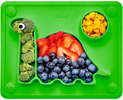 Lilly's Love Suction Plates for Toddlers - The Happy Good Dino Pad – Toddler Plates goes from Freezer to Microwave to Table. Silicone Placemat Fits in a Ziplock Bag. (Green)