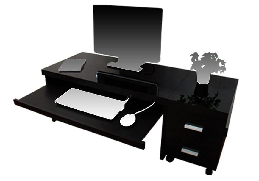 ライラックノイズ飼料家具工場直販 家具ファクトリー パソコンデスク フロア タイプ (ブラック【鏡面仕上げ?単色】) 日本製 2点 セット (デスク /幅90 奥行45 高さ43 ワゴン /幅30 奥行45 高さ43)