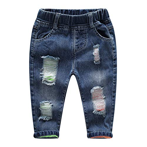 De feuilles Baby Jeanshosen Kleinkinder Jeans Unisex Lang Zerrissen Denim Hosen mit Taschen