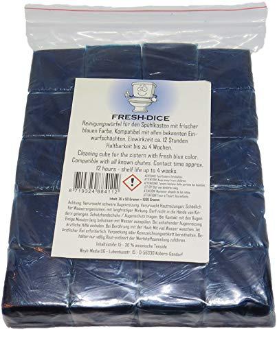 20 Stück Chlor freie reinigende Klosteine für Spülkasten Wasserkastenwürfel für den Toiletten Spükasten blau WC für Einwurfschächte aller Hersteller…