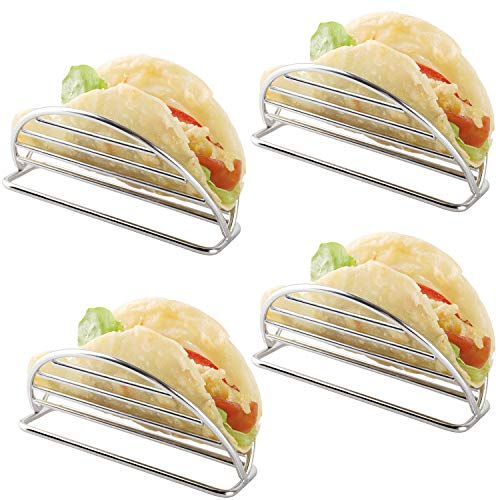 Taco Holder Stainless Steel Taco Holders Stands Set of 4 Racks Holds Soft or Hard Shell Tacos - for Burritos and Tortillas Holder