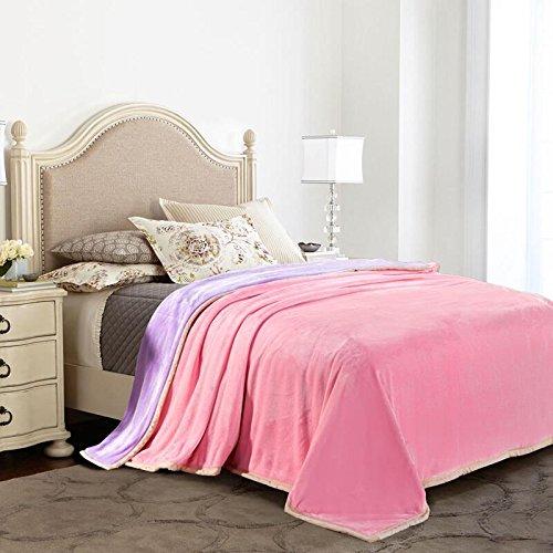 WDZA Color Sólido Doble Manta Engrosamiento Oficina Lencería De Cama, Mantas, 150X200Cm, Rosa + Morado