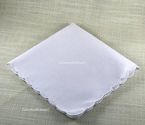 White Handkerchief scalloped edge hem. By EmbroiderableLinens Inc