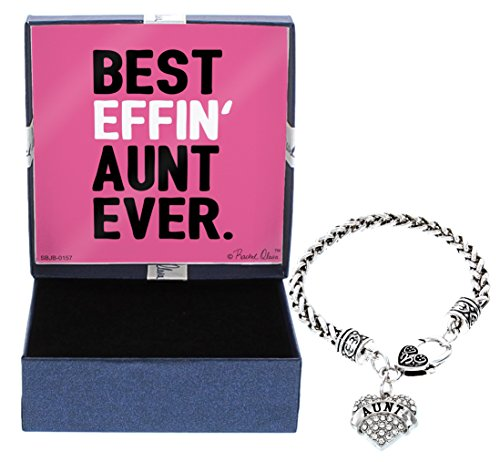 for Aunt Best Effin Aunt Silver-Tone Crystal Adorned Heart Shaped Charm Lobster Claw Bracelet and Gift Box Birthday Gifts for Aunt Bracelet Aunt Jewelry