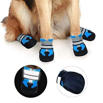 Ewolee Bottes Chien, Botte Protection Chien 4 Pièces Chien Chaussure Respirantes Chausson Antidérapant (XL, Lac Bleu)
